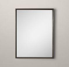 RH& Metal Beveled Mirror:Our sleek metal frame has a clean finish and minimalist detail for a modern, live-anywhere sensibility. Beveled Mirror Bathroom, Metal Mirror, Studio Interior, Custom Metal, Guest Bath, Home Living Room, Oversized Mirror, Minimalist, Modern