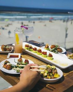 Mission Beach sushi = In San Diego's Belmont Park. Everything is served with an ocean view in this rooftop sushi bar in Belmont Park! - tasty food and views.