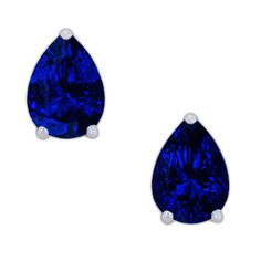 Velvety, deep intense blue Tanzanite pears set as stud earrings with elegant corner claws of white gold. Timeless classics...