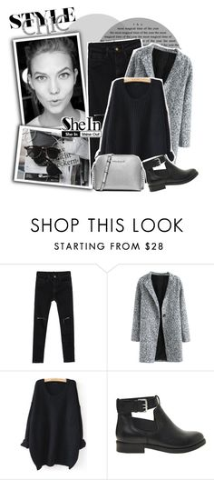 """""""SHEIN-Black Drop Shoulder Textured Sweater"""" by zulaltprk ❤ liked on Polyvore featuring Chanel, WithChic, ASOS, MICHAEL Michael Kors and shein"""