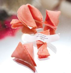 "Pink bridal shower fortune cookies - could have lots of love quotes & a ""winner"" in one of them!"