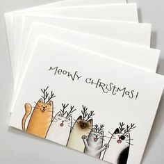 Cat Christmas Cards, Christmas Family Feud, Watercolor Christmas Cards, Watercolor Cards, Xmas Cards, Christmas Greetings, Holiday Cards, Christmas Cards Illustration, Watercolour
