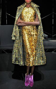 Tesserae Embroidery Sheath Dress by Wes Gordon gold embellished metallic