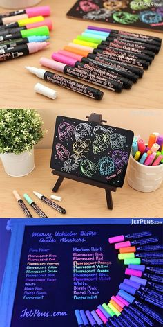 Create attractive chalkboard art that grabs people's attention. These bright Marvy Uchida Bistro Chalk Markers are fantastic for writing vibrant menus and other signage on whiteboards, light boards, windows, windshields, and other non-porous surfaces. Stationary Store, Stationary School, Study Room Decor, Cool School Supplies, School Suplies, Chalk Markers, Bistro Chalk Marker, Cute Stationery, School Notes