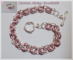 'Pink and Silver Chainmaille and Ring Set' is going up for auction at  9pm Thu, Aug 16 with a starting bid of $5.