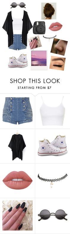 """""""Untitled #6"""" by artzylyfe ❤ liked on Polyvore featuring Pierre Balmain, Topshop, Converse, Lime Crime and Wet Seal"""