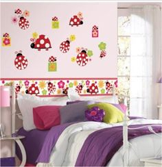 Ladybug Wall Stickers or Wall Decals for Decorating Girls' Rooms