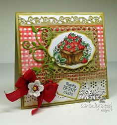 ODBD Stamps: Strawberries, Gingham Background, designed by Grace Nywening