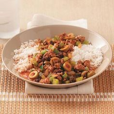 """Easy Cuban Picadillo Recipe from Taste of Home  """"My girlfriend gave me this delicious recipe years ago. I've made it ever since for family and friends, and they all love it. My daughter says it's the best dish I make and loves to take leftovers to school for lunch the next day."""" Marie Wielgus - Wayne, New Jersey"""