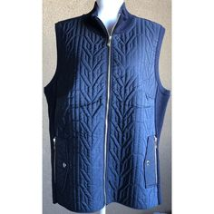 Tommy Hilfiger Blue Plus Size 1X Quilted Rib-Knit Vest Created For Macy's  | eBay
