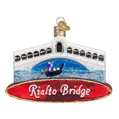 The Rialto Bridge is the most famous of the bridges that cross the Grand Canal in Venice, Italy. One of the most romantic and iconic European vacation destinations, Rialto Bridge experiences 22 million visitors each year. Whether you ve been to the bridge or dream of it, this ornament is a perfect keepsake. #springbreak #travel #rialtobridge #venice #travelsouvenir #glassornament #oldworldchristmas Rialto Bridge (Item #20074) NEW!