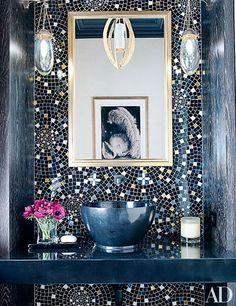 Custom-made glass-tile wall treatment created by designer Jamie Drake and Cheryl Hazan Mosaic animates a Manhattan powder room Mosaic Wall, Wall Tiles, Tile Mirror, Mosaic Bathroom, Blue Mosaic, Bathroom Wall, Jamie Drake, Upper West Side Apartment, Interior Design Minimalist