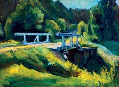 Bertalan Pór, Sunlit Landscape with Bridge, 1910