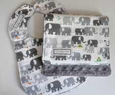 Baby Bib and Burp Cloth, ELEPHANTS in Gray by peekabootiquequilts on Etsy https://www.etsy.com/listing/102631431/baby-bib-and-burp-cloth-elephants-in