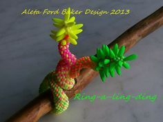 'Ring-a-ling-ding'   Dr. Seuss-inspired neon beadwoven ring by Aleta Ford Baker