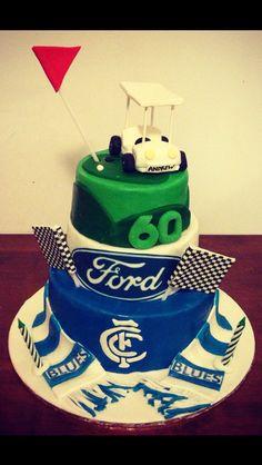 Men man boy male cake ford cake golf cake Carlton football cake themed AFL golf cart www.cupcakeandcookieco.com.au