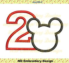 Minnie Mouse Head Birthday Set Embroidery Applique