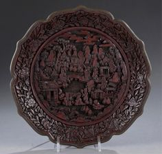 Lot 445: Cinnabar plate w/ pagodas, figures, and mountains. Estimate: $200-$400.  Ummmm..... yes please