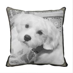 Throw pillow case with fractal Westie poodle art #Affiliate