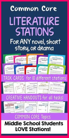 Literature Stations with Task Cards - Motivate your students with STATION work centered on Common Core topics using ANY novel, story, or drama! You get TEN different stations with detailed task cards and inviting student handouts for each. Great for differentiation—you choose the stations that best fit the text and your students' needs.