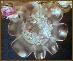 Vintage Beautiful Pink Glass Rose Pattern Bowl by mermaidwatch on Etsy