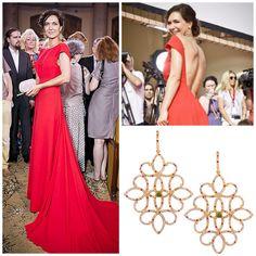 Actress Ekaterina Klimova is wearing Amova's earrings Tuileries