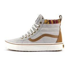 Womens Vans SK8 Hi Top MTE Scotchguard Knit Geo Grey Tan High Top Skate  Trainers 83082ac0c