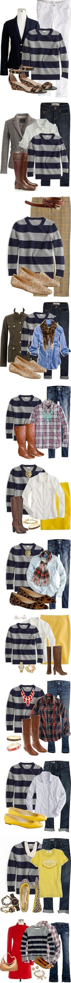Blue/Gray Stripe Sweater by my4boys on Polyvore featuring мода, American Eagle Outfitters, J.Crew, Hollister Co., Tory Burch, Old Navy, Stella & Dot, Forever 21, Michael Kors and Steve Madden