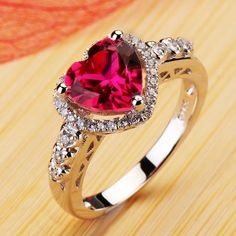 New Fashion Ruby Heart Cubic Zirconia 925 Sterling Silver Plated 18K White Gold Womens Ring