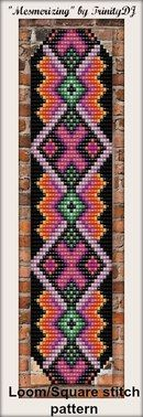 "New Loom/Square stitch bracelet pattern - ""Mesmerizing"". Please email if you are interested in the pattern Seed Bead Patterns, Peyote Patterns, Weaving Patterns, Bead Loom Bracelets, Beaded Bracelet Patterns, Miyuki Beads, Mochila Crochet, Native Beadwork, Indian Beadwork"