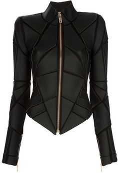 Gareth Pugh Geometric Panelled Jacket in Black - He knows how to make you feel like a superhero
