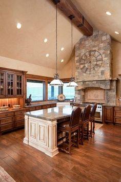 Traditional Kitchen with Hardwood floors, European Cabinets, Clemson Classic Single Pendant, Flush, Kitchen island, L-shaped