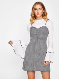Grommet Lace Up Front Plaid Cami Dress -SheIn(Sheinside)