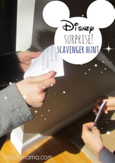 disney surprise scavenger hunt | ideas that get kids reading, thinking, and moving! | free printable from teachmama.com #disneysmmoms #weteach
