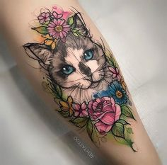 Looking for watercolor tattoos? Here are stunning watercolor tattoo designs and ideas. Tattoo Chat, 4 Tattoo, Piercing Tattoo, Neue Tattoos, Body Art Tattoos, Sleeve Tattoos, Movie Tattoos, Cat Portrait Tattoos, Ink Tattoos