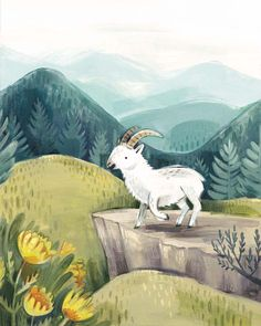 Enthusiastic Mountain Goat - Kass Reich, 2017 Multimedia gouache painting Prints available: kassreich.com