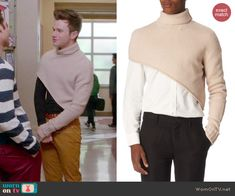 Kurt's beige asymmetric turtleneck sweater on Glee.  Outfit Details: http://wornontv.net/47107/ #Glee