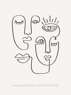 30 Fashion One Line Drawings Abstract Faces & 16 Seamless Patterns Collection - . - 30 Fashion One Line Drawings Abstract Faces & 16 Seamless Patterns Collection – Katrinelly Designs Shop Portraits Illustrés, Pose Portrait, Fashion Portraits, Face Line Drawing, Single Line Drawing, Drawing Base, Shirt Drawing, Woman Drawing, Simple Face Drawing