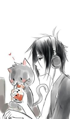 Sebastian Michaelis and a kitty drinking from a juice box...... If that's not cute and funny, I don't know what is?!