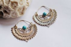 Brass tribal hoops earrings. Ethnic earrings by CandelaJoies