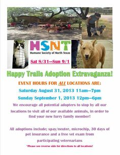 Big Adoption Event in Texas- Aug 31 and Sept 1-Humane Society of North Texas HSNT
