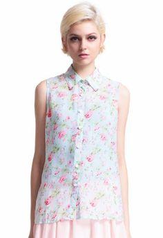 Romwe Women's Little Flowers Print Dacron Shirt
