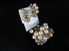 Circa 1930s Gorgeous Pearl and Rhinestone Brooch and Clip Earring Set – Elegant Design – 1930s 1940s Jewelry – Antique Demi-Parure Set