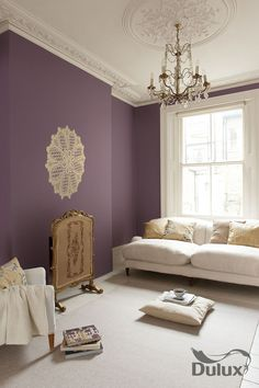 Good colour for living room feature wall #Dulux #colour #violet