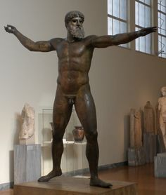 """Statue of ZEUS from the Athenian Museum (sometimes called Poseidon, although the twist of the right hand shows he originally held a lightning bolt, not a trident). Used as the frontispiece of the """"ZEUS"""" chapter."""