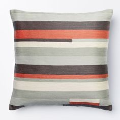 Crewel Modern Stripes Pillow Cover - Rose Bisque