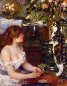 Girl And Cat by Pierre Auguste Renoir