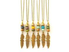 Boho Jewelry Feather Necklace Charm Necklace  Color by xxxAZUxxx, $17.00