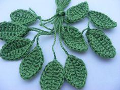 Crochet leaves leaf applique crochet applique by Bbabscrochet,