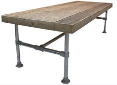 Tafel van steenschot blad met steigerbuis onderstel for Tuintafel steigerhout bouwpakket